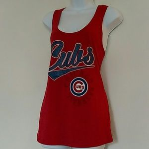 Tops - Chicago Cubs racerback tank with glitter lettering